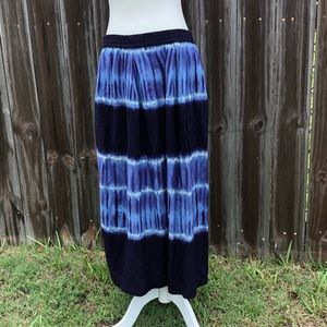 Beach Lunch Lounge Blue Tie Dye Maxi Skirt